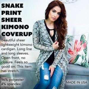 Snake print Sheer Kimono Coverup